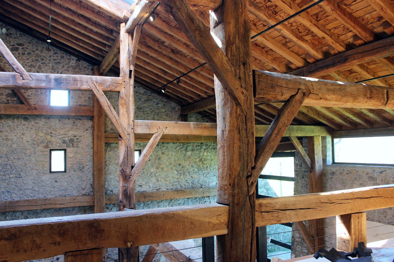 Das alte Fachwerk des Farmhauses